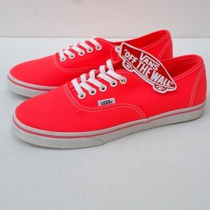 VANS NEON CORAL LOW TOP LACE UP SNEAKERS